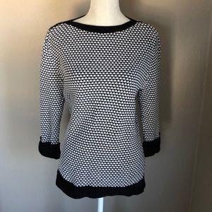 Karen Scott Black&White Patterned Sweater